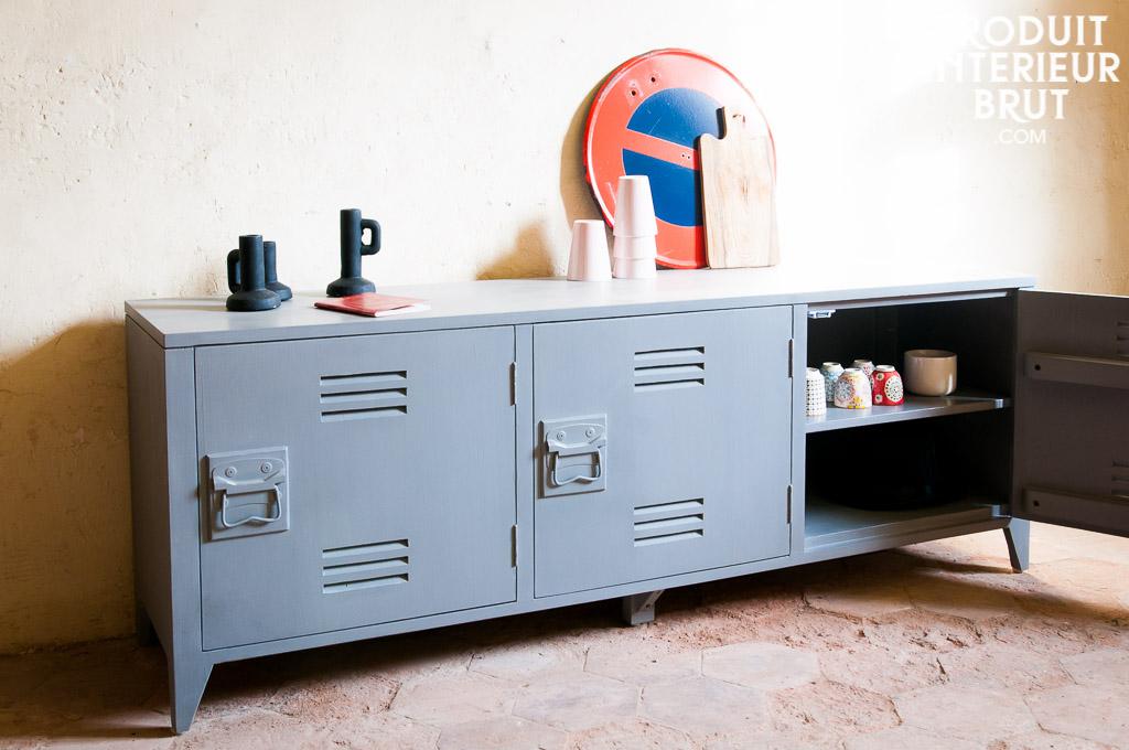 Buffet vintage esprit loft atelier (160 cm de large)…