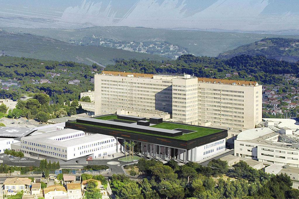 Vue aérienne sur l'hôpital Nord de Marseille